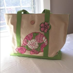 Lilly Pulitzer Seashell Canvas Beach bag Tote